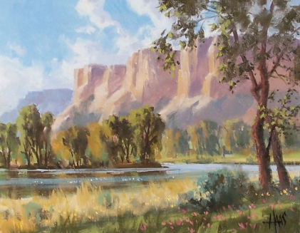 """Green River Valley - San Pedro River, Southern Arizona 11"""" x 14"""" oil painting by Tom Haas"""
