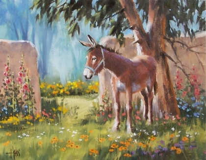 """Juanita's Garden - New Mexico 11"""" x 14"""" oil painting by Tom Haas"""