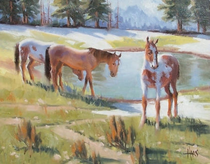 """Mountain Family 11"""" x 14"""" oil painting by Tom Haas"""