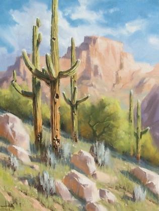 "Old Saguaro - Arizona 16"" x 12"" oil painting by Tom Haas"