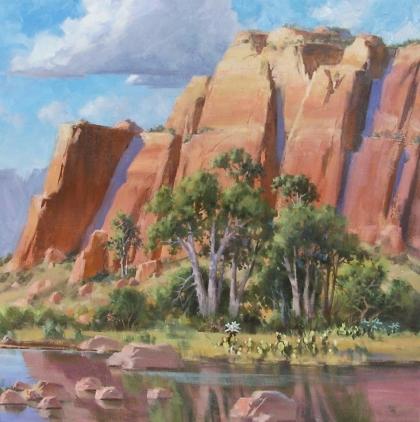 "Sandstone Cliffs II 36"" x 36"" oil painting by Tom Haas"