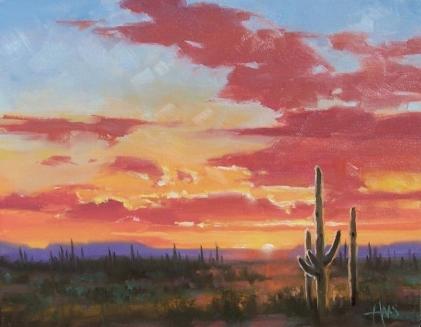 "Sundown - Arizona 11"" x 14"" oil painting by Tom Haas"