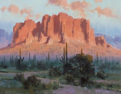 """Superstition Twilight - Arizona 11"""" x 14"""" oil painting by Tom Haas"""