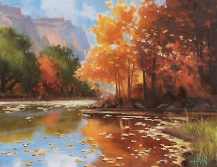 """West Fork Autumn - Arizona 11"""" x 14"""" oil painting by Tom Haas"""